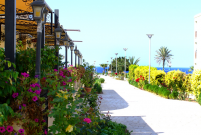 Sidewalk to the sea from Sienna Restaurant in Paphos, Cyprus